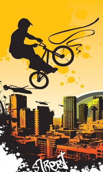 Vlies Fototapete Bicycle Street Art Yellow 150x250