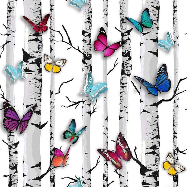Tapete Birken Schmetterlinge