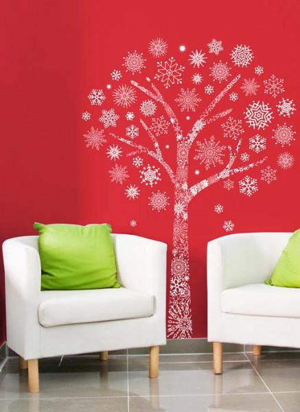 Wandtattoo Schneeflocken-Baum Wohnzimmer