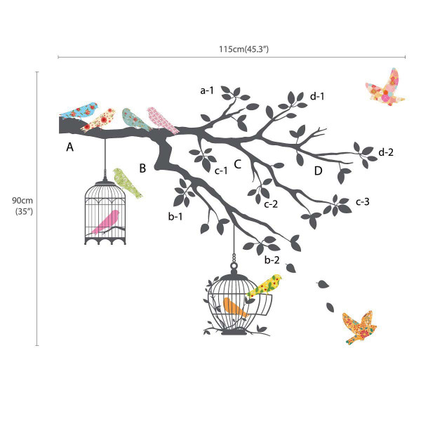 Wandsticker Vögel auf dem Zweig grau Dekorationsgröße