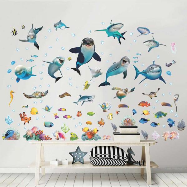 Walltastic Wandsticker Unterwasser Meerestiere Fische Kinderzimmer