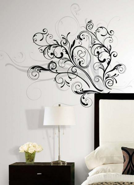 Wandtattoo grafisch geschwungenes Ornament Schlafzimmer