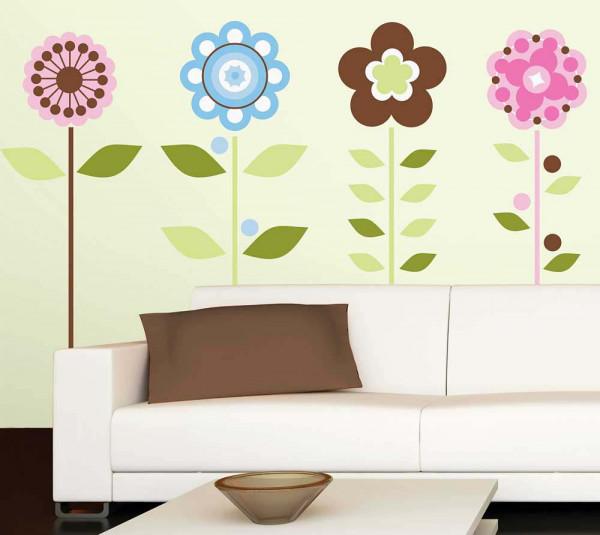 Wandsticker Blumen Blüten Wohnzimmer