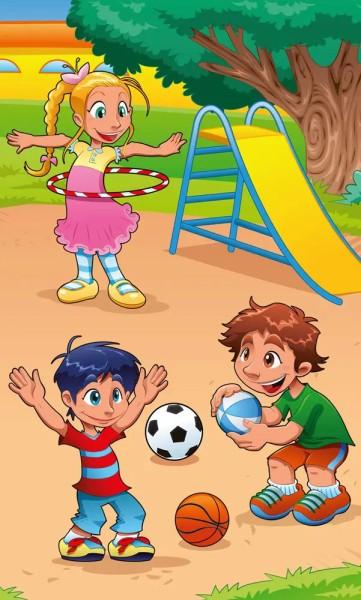 Vlies Fototapete Kinder auf dem Spielplatz 150x250