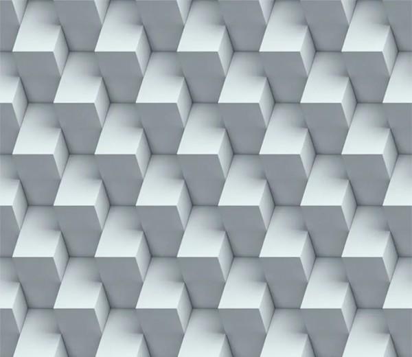 Vliestapete 3D-Optik Würfel grau