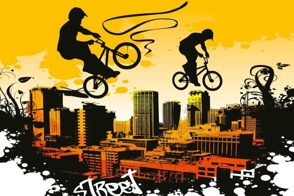 Vliestapete Bicycle Street Art Yellow 375x250