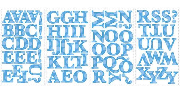 Wandtattoo blaues Alphabet