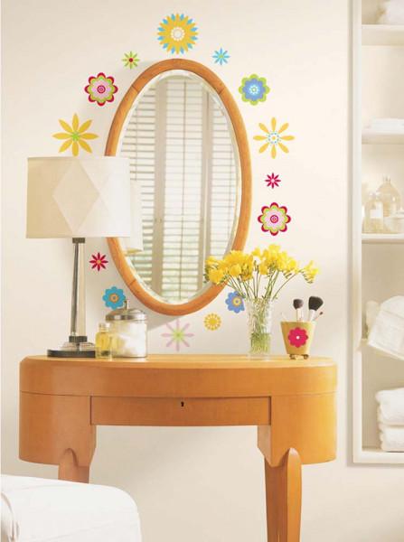 Wandsticker Grafik Blüten Schlafzimmer
