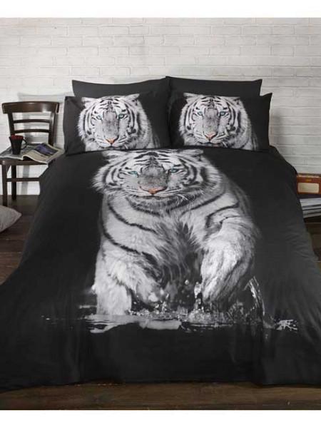 Bettwäsche springender weißer Tiger