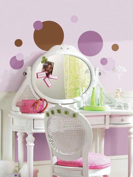 Wandsticker purpur braune Punkte Jugendzimmer