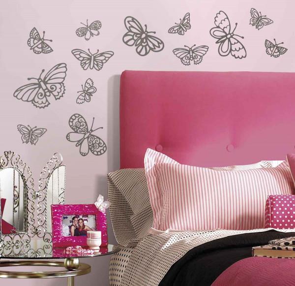 Wandsticker Glitzer Schmetterlinge Schlafzimmer