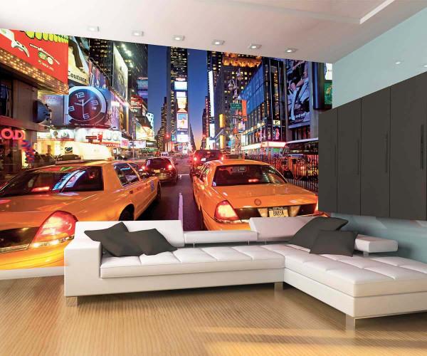 Fototapete Wandbild New York Taxi Times Square Wohnzimmer