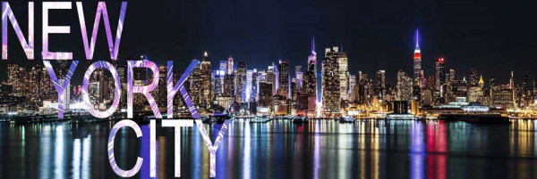 Fototapete New York Großstadtlichter Panorama