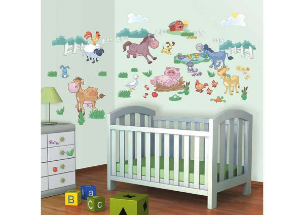Wandsticker Bauernhof Farm Tiere Babyzimmer