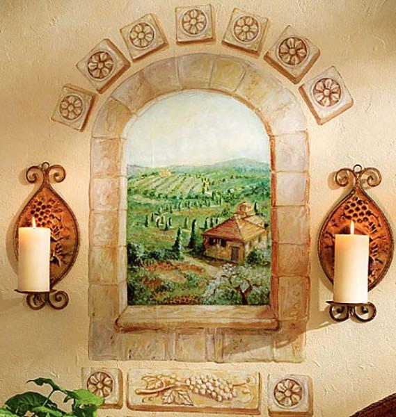 Wandsticker Toskana Fenster selbstklebend Küche