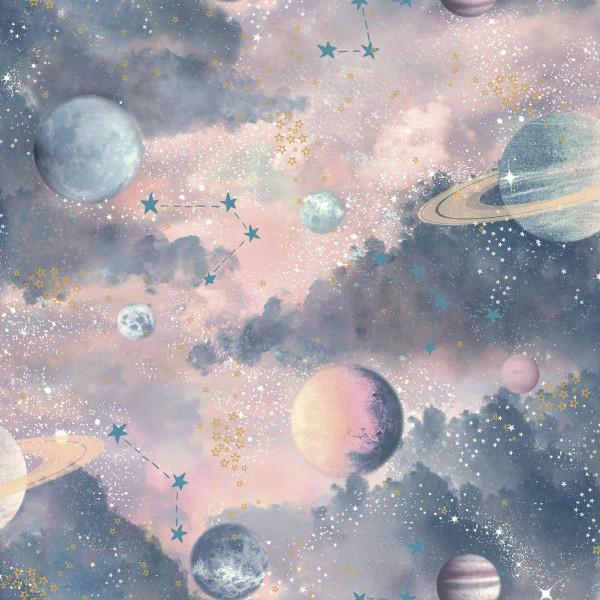 Tapete Planeten Sterne Sonnensystem 3D pink