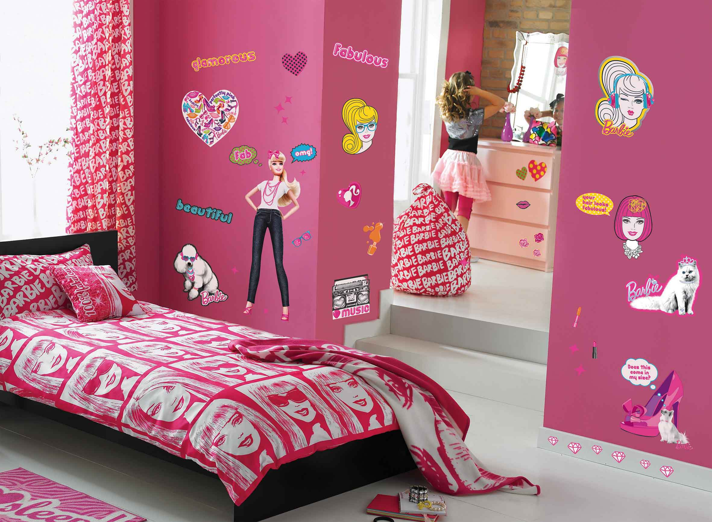 Wandsticker koffer barbie zimmer tapetenwelt - Barbie kinderzimmer ...