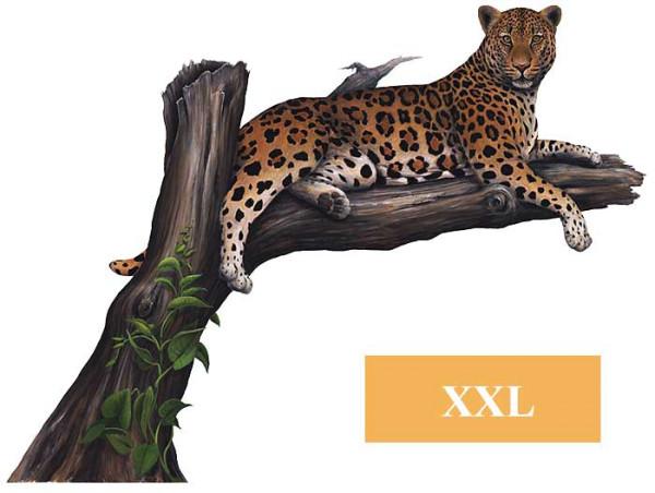 Wandsticker Dschungel Safari Leopard auf dem Baum