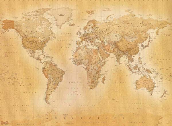 Wandbild Fototapete Retro Weltkarte