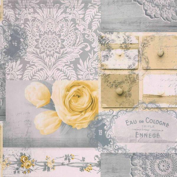 Tapete Decoupage Rose gelb