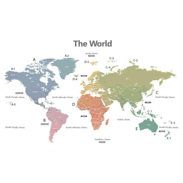 Wandsticker Weltkarte modern klein