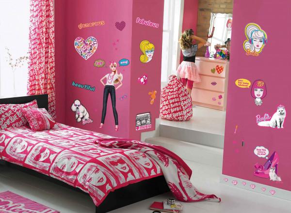 Wandsticker Koffer Barbie Zimmer