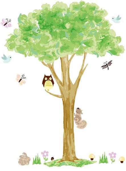Wandsticker Wandbild Eule auf Baum