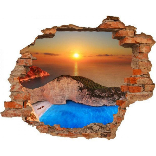 Wandsticker 3D-Optik Sonnenuntergang am Meer Breakthrough