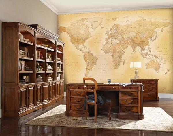 Wandbild Fototapete Retro Weltkarte Arbeitszimmer