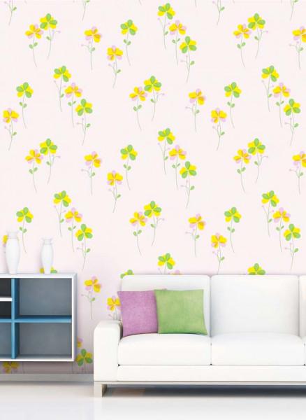 Tapete Blümchen Seideneffekt grün Wohnzimmer