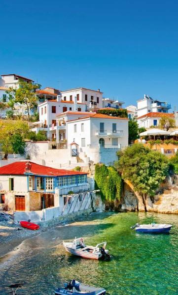 Vlies Fototapete griechische Mittelmeerküste 150x250