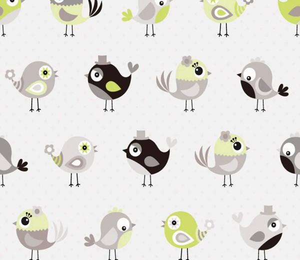 Vliestapete 3D-Optik Vögel grün