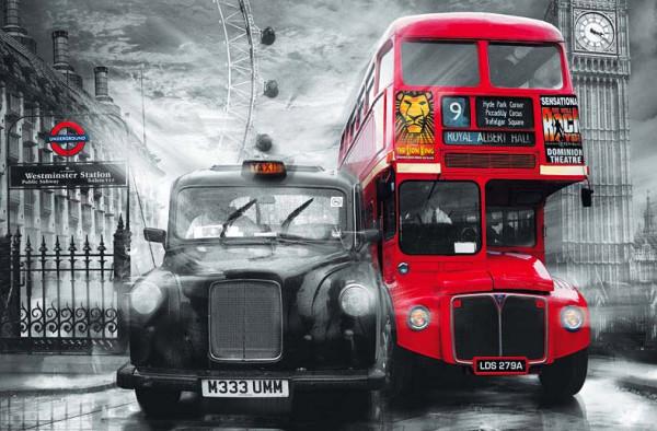 Wandbild Poster Londoner Taxi und Bus