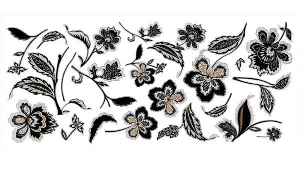 Wandtattoo Blumenranken schwarz