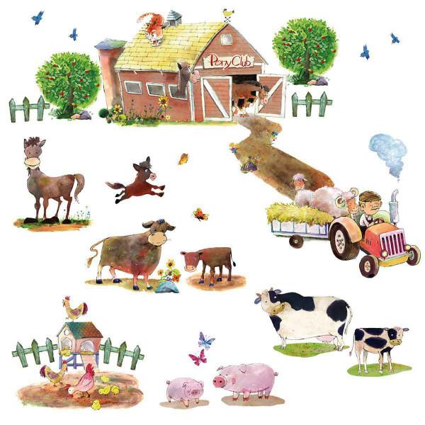 Wandsticker Bauernhof Ponyhof Tiere