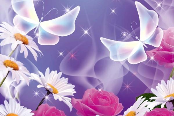 Vliestapete Blüten Schmetterling 375x250