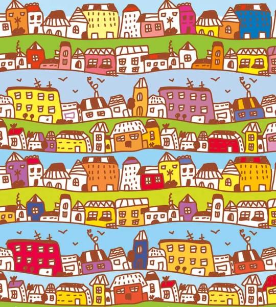 Vliestapete Kleinstadt Häuser 225x250