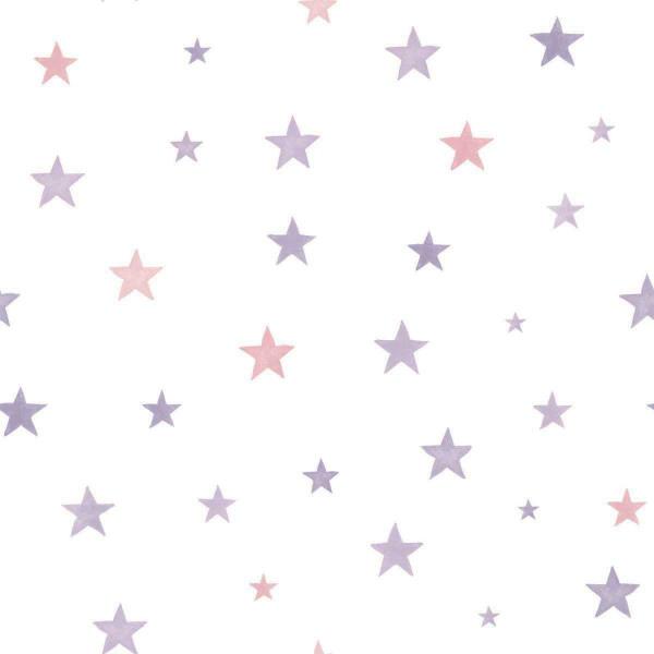 Vlies Ökotapete Sterne pink
