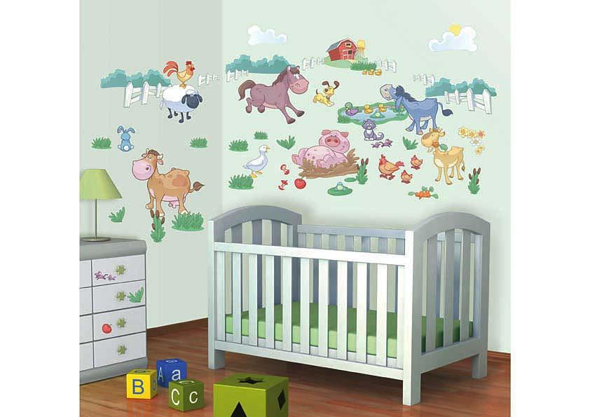 wandsticker bauernhof farm tiere babyzimmer tapetenwelt. Black Bedroom Furniture Sets. Home Design Ideas