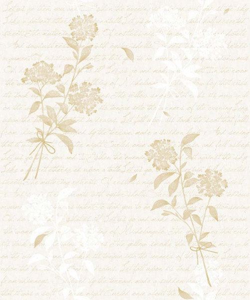 Selbstklebende Tapete Blütenstrauß cremebeige