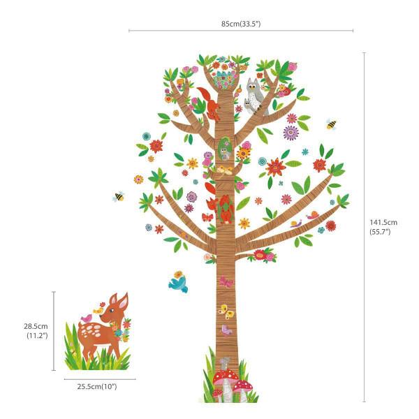 Wandsticker großer Baum mit Rehkitz Maße