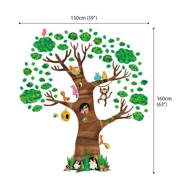Wandsticker großer Baum Waldtiere Maße