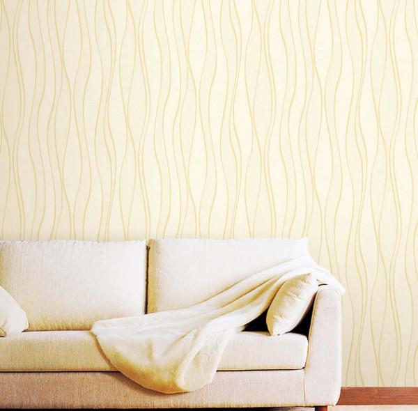 Tapete Wellen Glitter Seideneffekt cremegold Wohnzimmer
