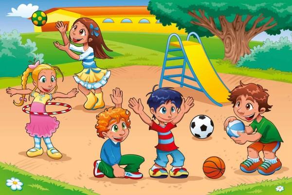 Vliestapete Kinder auf dem Spielplatz 375x250