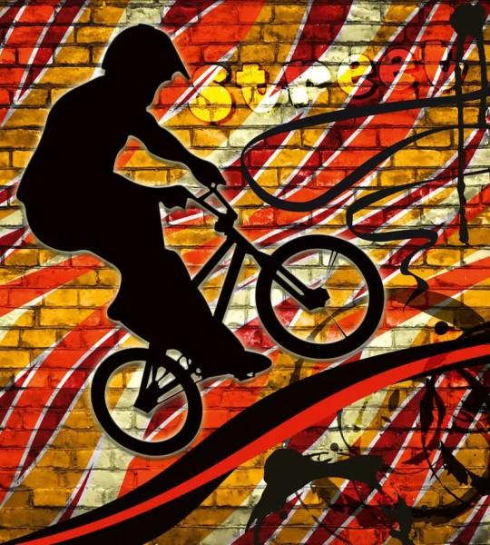 Vliestapete Bicycle Street Art Red 225x250