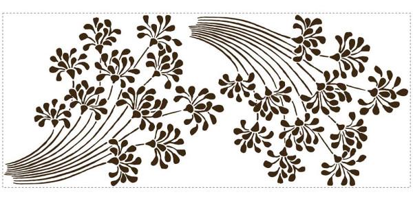 Wandtattoo Blumen Blüten beflockt