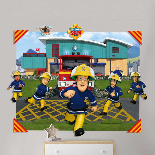 3D Fototapete Feuerwehrmann Sam dreidimensional