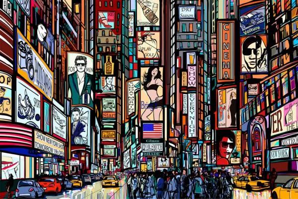 Vliestapete Times Square Collage 375x250