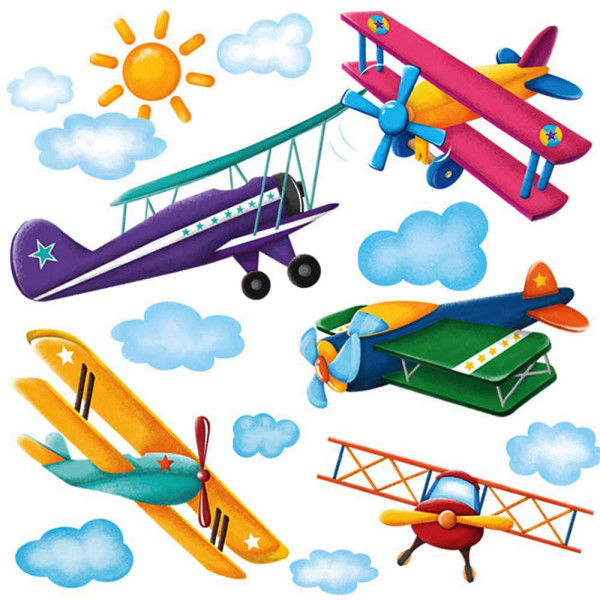 Wandsticker antike Flugzeuge Doppeldecker Megapack Verandatür
