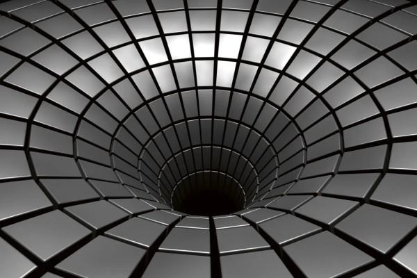 Vliestapete 3D Silber Tunnel 375x250